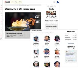 Яндекс запустил сайт, посвященный Олимпийским играм в Сочи